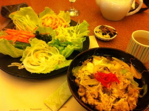 生野菜サラダと牛丼