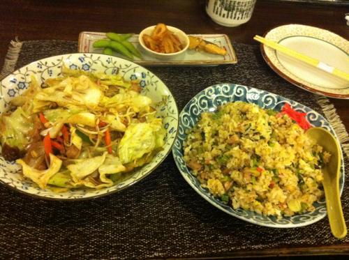 カレーピラフと野菜炒め