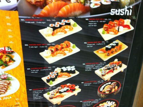 プラハの寿司レストランのメニュー